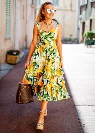 H&m платье сарафан из натуральной ткани в цветочный принт с оборками