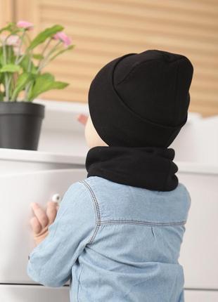 Базовая шапка в рубчик трикотаж осень 🍂 чёрная ▫️ комплект шапка хомут