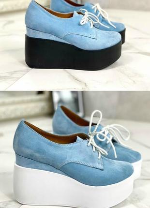 36-41 рр туфли, ботильоны, ботинки на танкетке шнурки натуральная замша/кожа