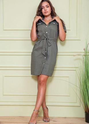 Платье рубаха цвета хаки