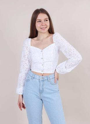 Блуза кружевная белая 2021 прошва хлопковая