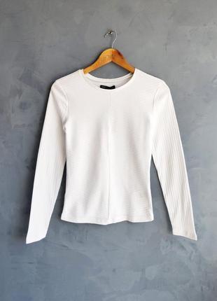 Белоснежный новый базовый лонгслив блузка в рубчик от house размеры с м л