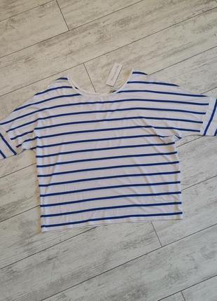 Легкая вискозная кофточка в полоску, полосатая летняя кофта, белая в синюю олоску