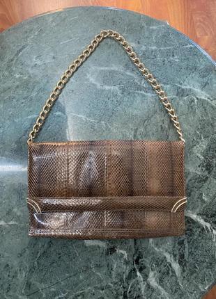 Винтажная сумка клатч из натуральной кожи змеи