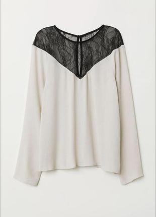 Элегантная вискозная нюдовая блузка с кружевом h&m