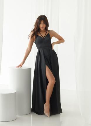Шикарное дизайнерское платье черного цвета, р. 36, 38