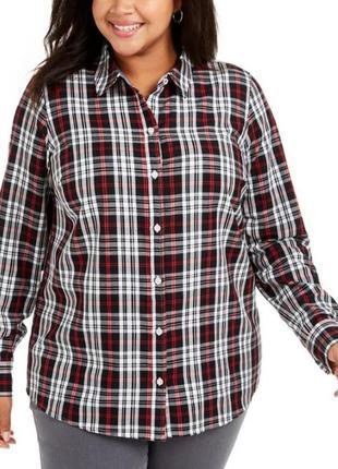 """Рубашка """"бойфренд"""" в клетку с декором впереди plus 14w(сша) на 50-52 и даже 54р"""