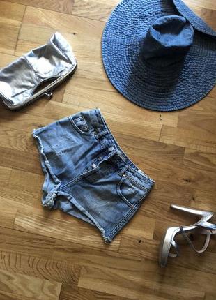 Шорты джинсовые на высокой талии