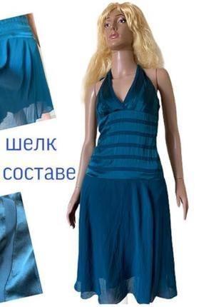 Морская волна шифоновый сарафан платье шелк 100% натуральный в составе