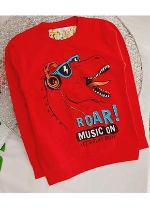 Реглан з динозавром червоний.