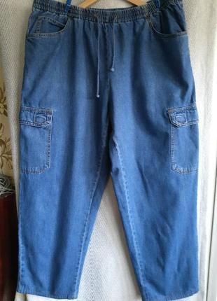 Женские летние джинсовые брюки на резинке. пляжные, спортивные, легкие джинсы. батал 28р.100% котон