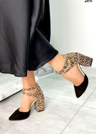 Стильные женские кожаные замшевые босоножки туфли топ качества, чёрные