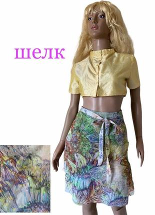 Шелковая юбка шелк 100% с поясом st.emile шелк жатая обработка