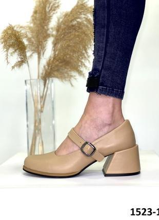 Кожаные женские кожаные туфли mary jane