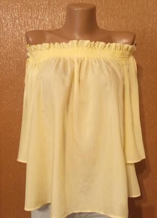 Лёгкая блузка на плечи резинка жёлтая полоска вискоза ограниченный выпуск р 8-10 marks&spencer