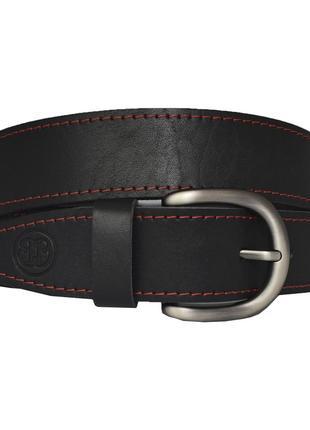 Ремень кожаный женский с красной строчкой черный для джинсов kasiopea4
