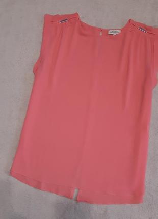 Блуза лёгкая коралловая короткий рукав размер 14-16 papaya