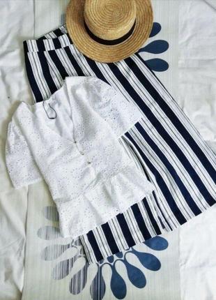 Белый топ білий біла белая блуза с перфорацией zara с объемными рукавами