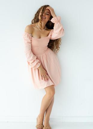 Платье резинка с резинкой и длинным рукавом