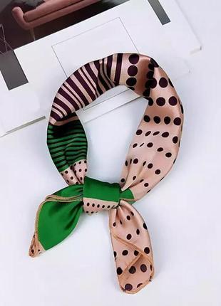 Платок на шею волосы бант лента на сумку чалма шарфик искусственный шелк косынка бандана хустка