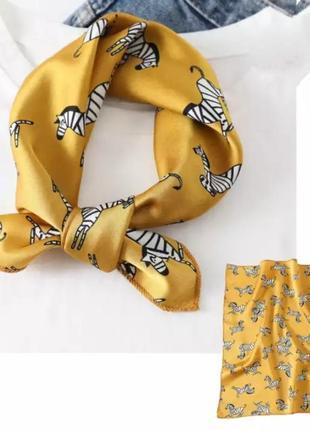 Шикарный желтый платок на шею волосы сумку  бант чалма косынка бандана хустка