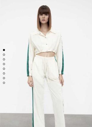 Шикарный костюм белый с полоской zara размеры xs,s,m,l