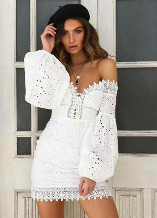 Воздушный белый летний хлопковыйсарафан платье из прошвы кружево гипюр с открытыми плечами