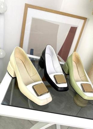 Стильные женские кожаные туфли лодочки