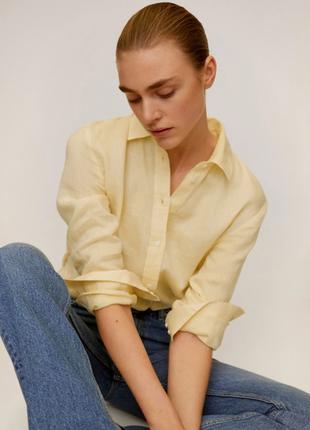 100% лён рубашка mango