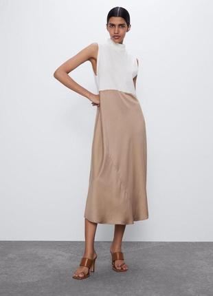 Комбинированное платье миди с вставкой из сатина zara 2021