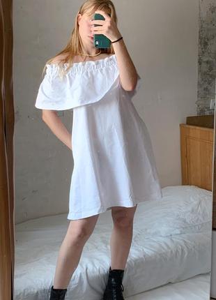 Белое хлопковое платье на плечи летнее h&m
