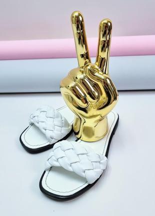 Кожаные шлёпанцы белые р36-41 сандалии шлепки тапки сланцы шльопанці шльопки сланці капці сандалі