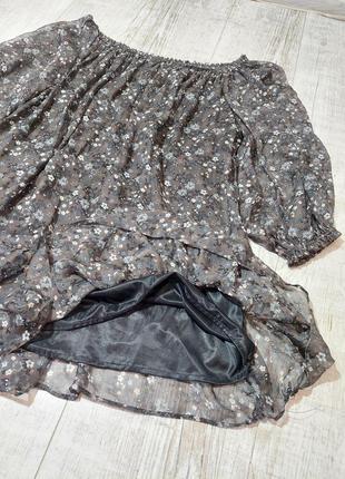 Шелковое платье свободное на платье zara в мелкие цветы3 фото