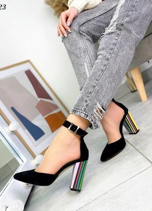Стильные женские кожаные замшевые босоножки туфли на каблуке, чёрные