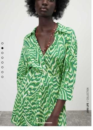 Платье-рубашка zara размер l