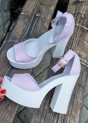 Туфли босоножки р36-40 на высоком каблуке платформе кожа кожаные босоніжки туфлі на високих підборах