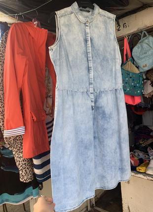 Джинсовые платье джинсовый сарафан платье миди короткое платье сарафан коттон