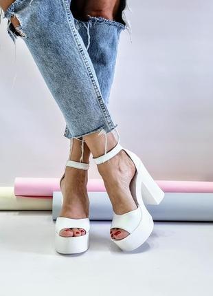 Туфли босоножки р36-40 на высоком каблуке свадебные босоніжки туфлі на високих підборах весільні3 фото
