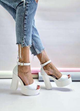 Туфли босоножки р36-40 на высоком каблуке свадебные босоніжки туфлі на високих підборах весільні6 фото