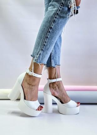 Туфли босоножки р36-40 на высоком каблуке свадебные босоніжки туфлі на високих підборах весільні8 фото