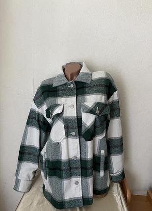 Рубашка пальто в клетку тёплая  dilvin  турция