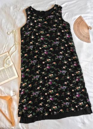 Нарядное чёрное длинное платье прямого кроя в цветочек из натуральной вискозы (размер 44-46)