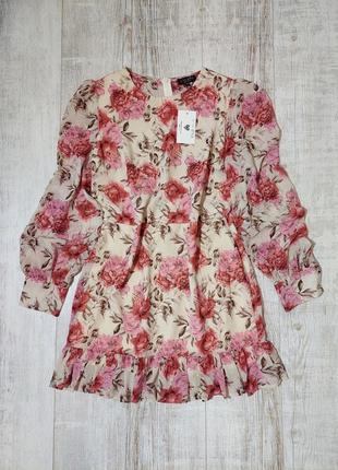 Новое платье в цветы бежевое