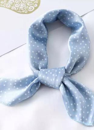 Голубой платок на шею бант на волосы сумку чалма шарфик искусственный шелк  бандана косвнка в горошек хустка