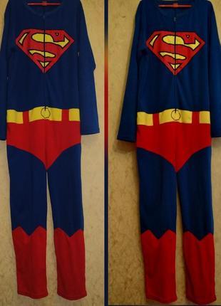 "Кигуруми флис, слип,лаунж пижама, комбинезон для сна ""супермен"" 50/58"