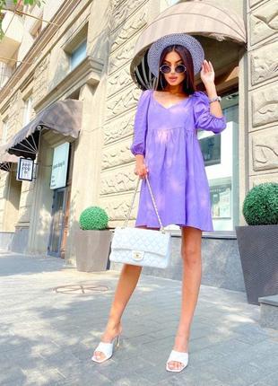 Шикарное универсальное платье лён,рукав фонарик,,цвет: мокко, белый, джинс, лиловый, зелёный