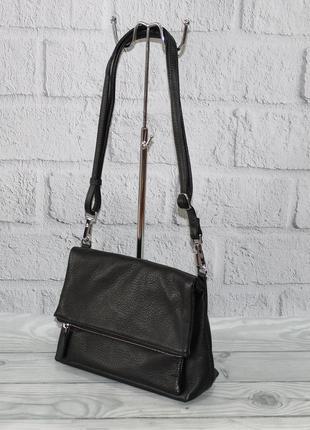Небольшая кожаная женская сумочка sankaslo 63173 черная, клатч-конверт