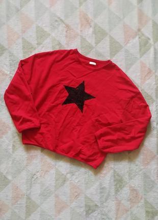 Худи свитшот красный в пайетках звезда свитер кофта