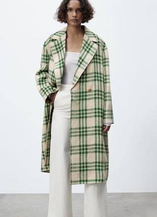 Клетчатое пальто оверсайз zara, куртка, тренч, пиджак в клетку
