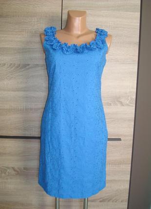Шикарное платье  хлопковое, прошва, вышивка размер 8-10
